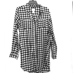 Black and white plaid, shirt dress